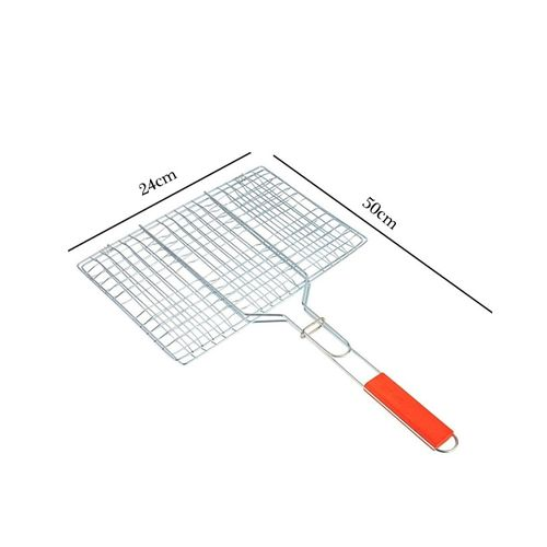 Chrome-Plated-Barbecue-Grill-Net-Basket-Wood-Handle-Small